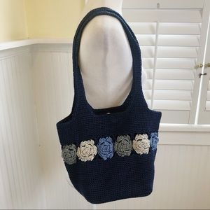 Handbags - Navy Blue Crochet Floral Boho Bucket Bag